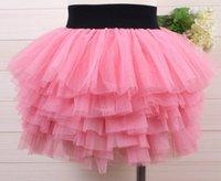 Cheap Spring summer hot girls skirts sweet candy color net yarn kids Layered skirts princess style fashion joker children short skirt ab2421 XQZ