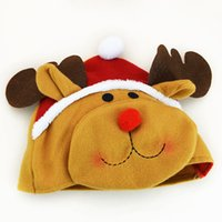 Wholesale Cristmas new year navidad noel decoration Christmas hat cute doll santa claus snowman deer clothes head decoration