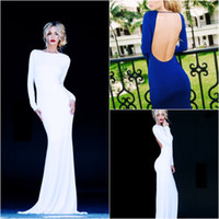 name brand evening dress - 2014 New Simple Sexy Long Sleeves Jersey Floor Length Evening Dresses Backless Mermaid Prom Gown Vintage High Quality Custom Made Brand Name