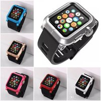 Cheap 2015 New Fashion Silicone Wrist Strap Watch Band+Metal Frame Case For Apple Watch iWatch 38mm 42 mm