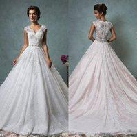 Wholesale Elegant Lace Ball Gown Wedding Dresses Amelia Sposa V Neck Cap Sleeves Sheer Back Princess Church Garden Bridal Gowns Plus Size