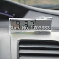 auto cool display - 100pcs Durable Digital LCD Display Car Electronic Clock With Sucker Cool Mini LCD Display Digital Auto Clock Sucker