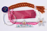 Wholesale Frozen Princess Anna Crown Set Snow Magic Wand Magic Wand Rhinestone Hair Crown Glove Hair Braid sets
