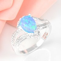 Cheap 5pcs lot Special Blue Drop Fire Opal Gemstone 925 Sterling Silver Wedding Ring Jewelry Gift