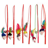 Wholesale New Cat toy feather Design Steel Wire Feather Teaser Wand Plastic Toy for cats Color Multi Products For pet G01190