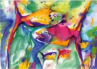alfred gockel paintings - paintings by Alfred Gockel COLORFUL FISH Home Decor Hand painted High quality