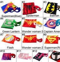 Wholesale 2015 New Children Capes and mask Double Side set Kids Halloween party Cosplay Clothes cm