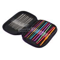 Wholesale 22pcs Multicolour Aluminum Crochet Hook Knitting Needle Set Weave Craft Yarn YKS