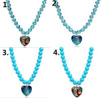 Wholesale new hot blue glass beads Anna Elsa Princess Peach Heart Pendant Necklace FR007