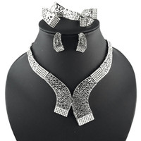 Wholesale Jewelry Sets Gold Silver Plated Statement Necklace Bracelet Earring Ring Fashion Crystal Hollow Tribal Bridal Bridesmaid Wedding Jewellery