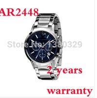 ar strap - New AR2448 Quartz Chronograph mens AR Watch Japan Movement Stainless Steel Strap Gents Wristwatch Original box