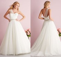 Wholesale 2015 elegant sheer one shoulder white ivory tulle A line Wedding Dresses backless covered button Beading sash women court train bridal gowns