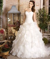 Cheap 2016 High Quality Customized Puffy Ball Gown Wedding Dresses Sweetheart Lac Up Corset Back Sweep Train Ruffle Organza Bridal Gowns