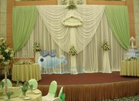 apple green curtains - White And Apple Green Color Wedding Backdrop Curtain Drape For Wedding Decoration