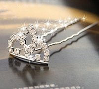 Wholesale Hairpin Bobby pin Barrette decorating with crown shinning crystal noble and delicate for bride and high qu