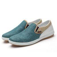 Wholesale Drop Shipping New Modern British Fashion Men Sneakers Eu Linen Woven Patchwork Design Urban Man Leisure Breathable Flat Shoes X01009