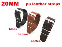 Wholesale High quality MM PU leather Watch band watch strap nato strap leather band brown black coffee color