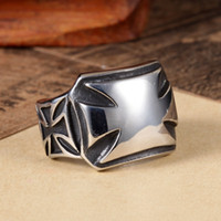 band clusters - Mens L Stainless Steel Silver Black Biker Band Iron Cross Ring Size