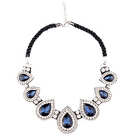 chunky necklaces - Brilliant Crystal Diamond Charm Necklaces Fashion Chunky Statement Necklaces with Gemstone Pendants Party Wedding Necklaces for Women NL029