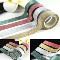 Wholesale 5M Glitter Washi Sticky Paper Masking Adhesive Tape Label DIY Craft Decor Colors PWS JFU