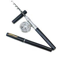 Wholesale Portable Rod Combo Mini Aluminum Alloy Pen Fishing Rod Fishing Reel m Line Fishing Hook Float Pocket Carp Fishing Tackle