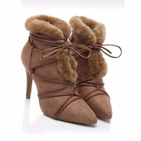 ankle injection - 2016 stylish pigskin black camel color ladies sexy short boots rabbit hair pointed toe stiletto heels woman winter ankle boots