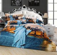 al por mayor fundas de edredón de la reina de la cubierta-Estatua de la Libertad juegos de cama de pintura al óleo ropa de cama de algodón egipcio reina con funda de edredón plato almohadas hoja 4 / 5pc consolador conjuntos