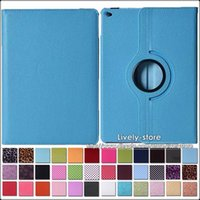 Wholesale Dropship Case For iPad Air iPad Lichee Pattern Degree Rotating Stand PU Leather Case Colors in Stock