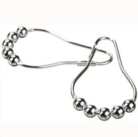 curtain ring clip - New Shower Curtain Rings Hooks Stainless Steel Bathroom Clip Easy Glide Hooks Beaded Polished Gourd Shape Europe Style K386