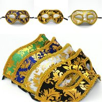 masquerade masks on stick - MJ012 Gold Lace Plastic Festive Party Supplies Anonymous Masks Wedding Graduation Valentine Day Birtyday Christmas Masquerade on a stick