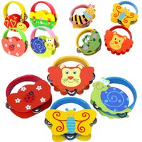 Wholesale Colorful Cartoon Animals Handbell Wooden Tambourine Rattles for Kids Children Colors May Vary
