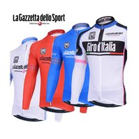 Wholesale La gazzetta dello sport cycling jerseys Lagazzetta dello Sport cycling tops long sleeves Autum Wither Thermal Fleece none fleece size XS XL