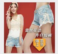 Cheap 2014 new summer denim short jeans lace ruffles ripped women denim pants free shipping