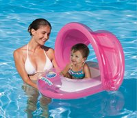kid swimming pool - 2015 New Sunshade Baby Child Kids Swim Ring Float Seat Boat Inflatable belt Water Pool Fun Sun Protection Umbrella LJJH90