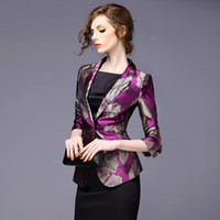 Wholesale women s clothing fall new high end fashion female printing jacquard short coat cultivate one s morality small suit