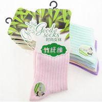 bamboo socks women knee high - 2400pair CCA3222 High Quality Vintage Candy Socks Pack Women Stockings Women Bamboo Socks Ladies Korea Socks Retro Solid Socks Crew Socks