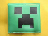 Wholesale Minecraft Creeper Wallet Card Change bags boys and girls PU Leather Purse green cartoon wallets children kids gift present high quality Hot