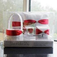 Envío Libre Rojo Blanco La Ceremonia De La Boda Personalizada Cosas De La Hoja Del Libro De Visitas Del Conjunto De Pluma Anillo Almohada Cesta De La Flor De Musgo