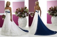 Wholesale Unique Blue and White Wedding Dresses Strapless Embroidery Beads Sweep Train Princess Dresses Bridal Gowns Vintage Wedding Dresses