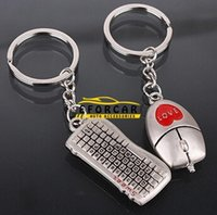 Wholesale Lovers Keychain Buckle Gifts Couples Key Chain Ring Keyboard Mouse Love Car Keyrings Valentine