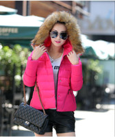Wholesale Women Winter Jacket Brand Coat Womens Down With Real Fur Hood Students Short Small Cotton Candy Colored Feather Padded