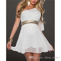 Wholesale New Type Sloping Shoulder Waisted Shape Of Cheap Dress For Women Soft Chiffon Summer Dress