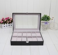 Wholesale Retail Grid Leather Black Watch Display Case Jewelry Collection Storage Organizer Box Holder