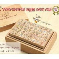 arts rabbit - Cartoon Rabbit DIY Wood Stamp Blocks Children Toys Gifts Art LOGO Stamp Wood Box Packaging SK762