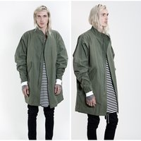 Wholesale Fall hot mens designer jackets fashion clothing trench coat men clothes kanye west oversized long olive green jacket fear of god
