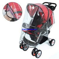 baby travel prams - New hot Folding waterproof children baby strollers Pram Pushchair By Transparent Rain Cover Travelling baby protector