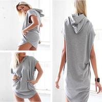 asymmetrical hoodie - 2015 fashion new Women Casual Loose Hoodies Hooded Short Sleeve Long Shirt Blouse Top Mini Dress