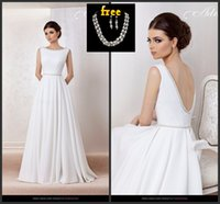 earrings sexy - 2015 Beach Backless Wedding Dresses Summer Pearls Bride Dress Sweep Train Evening Gowns Sexy Prom Dresses Free Necklace And Earrings