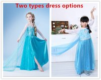 Wholesale Frozen Girls Elsa Dress Elsa Cosplay Costume Dress Girls Summer Dress Star Movie Party Show long sleeve Dresses for Children With Yarn Cloak