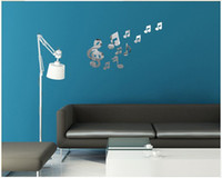 Wholesale set creative musical note acrylic mirror wall stickers new bedroom decoration home decals for walls